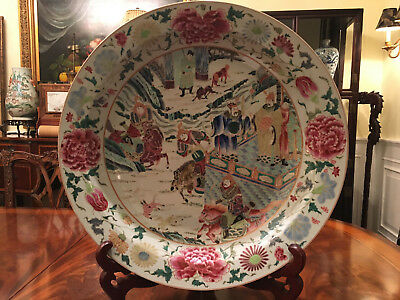 An Excellent Monumental Antique Chinese Famille Rose Mandarin Charger.