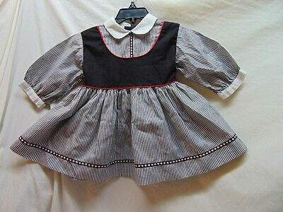 **Vintage** Toddler Size 3T? Black/Gray Striped Dress by Kate Greenaway--AS IS