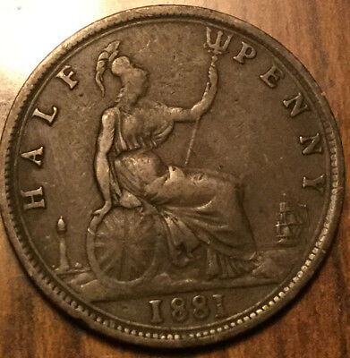 1881 UK GB GREAT BRITAIN HALF PENNY ! Nicer example!