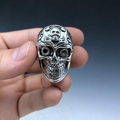 RARE China's Old Tibet silver ring hand-carved head image NE