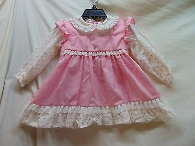 **Vintage** Baby Size 24 Months Pink w/ Flowered Trim Dress by Alexis