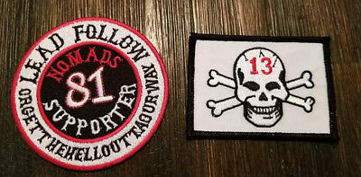 Red & White support patches Biker motorcycle patch lot x 2 NOMADS 81 Supporter