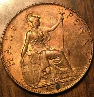 1901 UK GB GREAT BRITAIN HALF PENNY ! SHARP Uncirculated ! Luster!