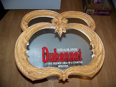 Dubonnet Red & Blonde Wine Advertising Sign Wall Hanging Bar Mirror Framed 18X21