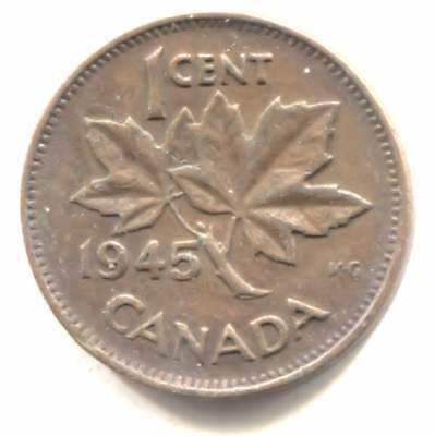 1945 Canadian 1 Cent Maple Leaf Penny Coin - Canada - King George VI