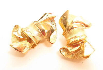 Vintage GIVENCHY Earrings Beautiful Bow Style Signed Gold Plated Clip-On A854