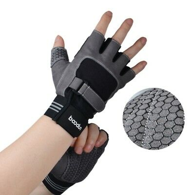 Gym Fitness Gloves Fingerless Weight Lifting Workout Training Wrist Wrap Gloves