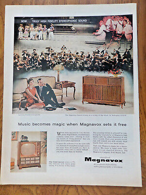 1958 Magnavox Television TV Stereo Ad  Symphony Orchestra Carnegie Hall