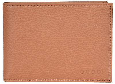53bf4e66bb10c1 NEW Gucci Men's 292534 Saffron Tan Textured Leather W/Coin Large Bifold  Wallet