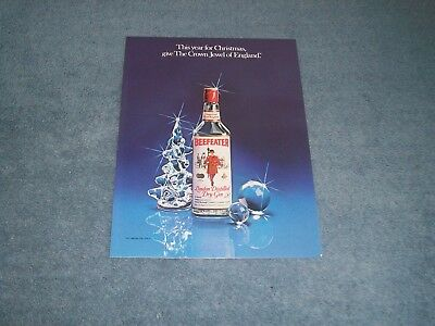 """1980 Beefeater Dry Gin Vintage Christmas Ad """"Give The Crown Jewel of England"""""""