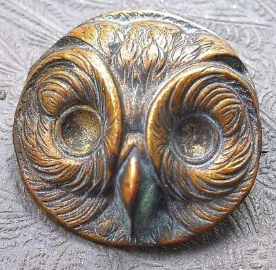 "Atq Brass Owl Head Relief Pin detailed feathered beak VG ~7/8"" d raptor lovers"