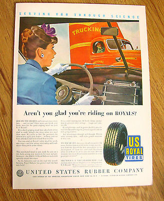 1946 US Royal Tire Ad  Ford Chevrolet Buick Plymouth Olds Cadillac Pontiac ?