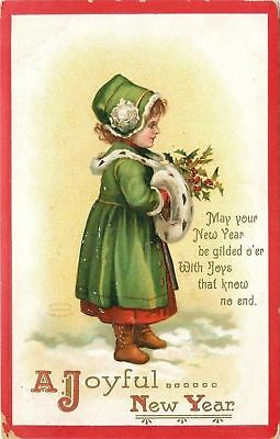 Clapsaddle~New Year~Girl~Ermine Trim Green Coat~Muff~Holds Holly~Snow~Gold~Emb
