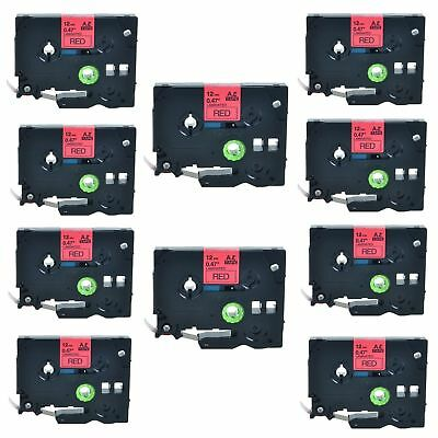 10PK TZ-431 TZe-431 Black on Red Label Tape For Brother P-Touch PT-1950 12mmx8m