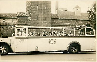 RPPC On Our Way to the Castle~All Ladies, Except 3 Men in Back of the White Bus