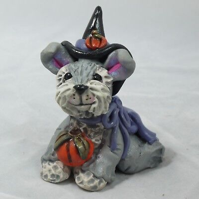 Mini Witch Halloween Schnauzer Collectible Clay Dog Autumn Pup Figurine Fall