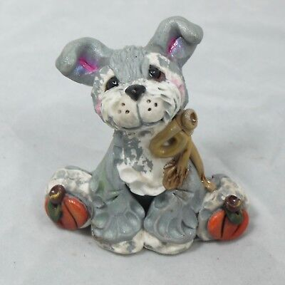 Pumpkin Pup Halloween Schnauzer Mini Collectible Clay Dog Autumn Figurine Fall