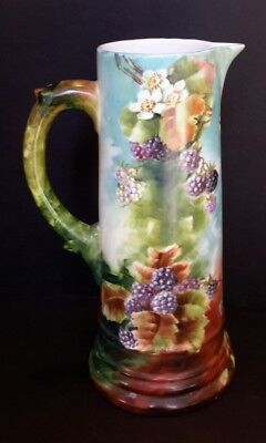 Antique Vintage Limoges Large Pitcher Tankard Hand Painted Blackberries Unmarked