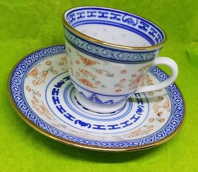 Chinese Blue And White Platter Dragon Rice Pattern Cup And Saucer