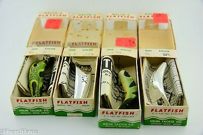 Vintage Helin Flat Fish Fishing Lure Lot of 4 New in Boxes with Papers RR79