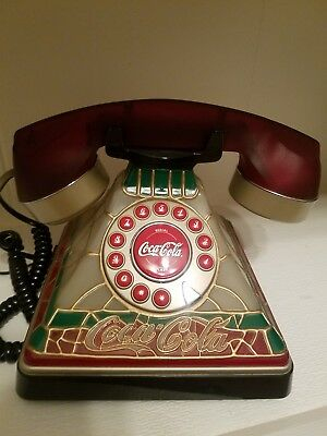 Vintage Retro Coca-Cola Stained Glass Look Telephone