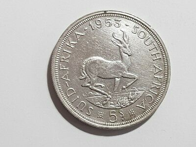 South Africa  1953 Silver 5 Shilling  Crown Coin