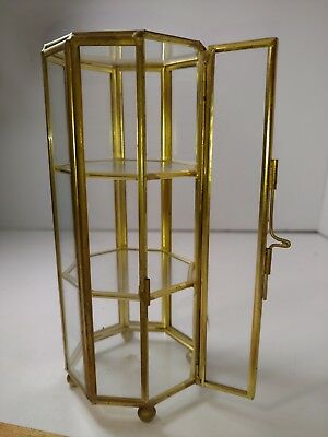 Vtg Minature Glass Brass Mirror Curio Cabinet Display Case 3 Shelves
