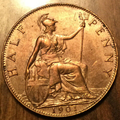 1901 UK GB GREAT BRITAIN VICTORIA HALFPENNY - Best of circulated condition !