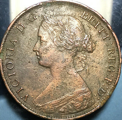 1862 UK GB GREAT BRITAIN HALFPENNY - Best of circulated condition ! Pitted