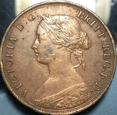 1862 UK GB GREAT BRITAIN HALFPENNY - Very sharp coin ! In great details!