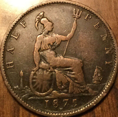 1875H UK GB GREAT BRITAIN HALFPENNY - Low mintage coin in good details!