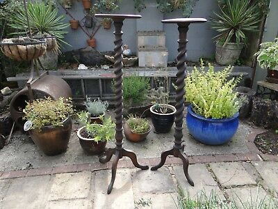 Two Victorian Wooden Barley Twist Torchere /Plant  Stands in need of restoration