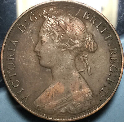 1861 UK GB GREAT BRITAIN VICTORIA HALFPENNY - Better grade but also dirty