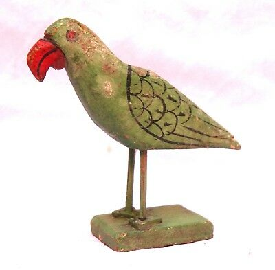 Indian Old Vintage Unique Wooden Hand Made Parrot Figure Collectible WD 149