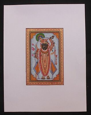 Old Vintage Original Cloth Painting Lord Of Shri Nath Water Color Hand Painting