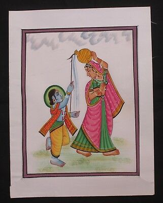 Indian Old Vintage Cloth Lord Of Bal Gopal Krishna Water Color Hand Painting