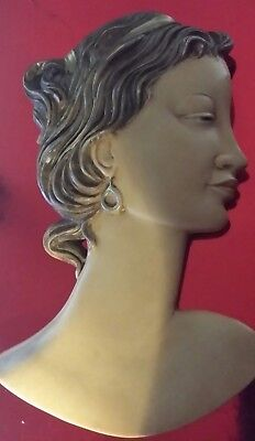 "Genuine Art Deco Wall Mask Signed ""b.l"". 1930's 40's."