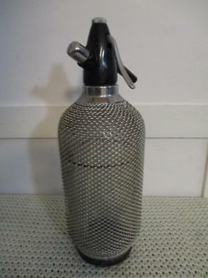 Retro 1960's Soda Syphon Silver Chain Mesh Bottle Made in Czechoslovakia