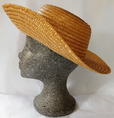 Vintage Greek straw hat traditional ladies summer accessories SMALL size 54 cm S