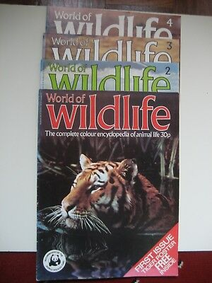 4 x WORLD OF WILDLIFE Magazines Issue 1,2,3 & 4 (1980's)(No Posters)