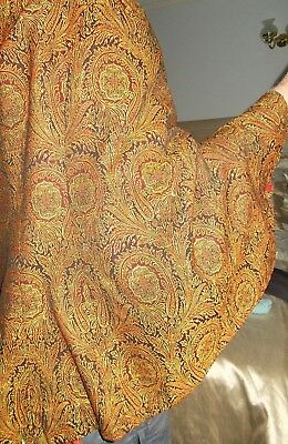 ORIGINAL ANTIQUE VICTORIAN CAPE~JACKET in BLACK~RED & YELLOW PAISLEY~wareable