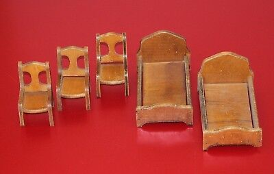 Vintage Wood Doll Dollhouse Furniture 2 beds 3 chairs 1/12 Big or Large Scale