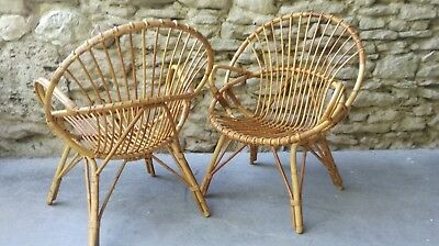 Fauteuils Rotin Corbeille Coquille Paire De y76gYvbf