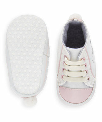 Baby Girls & Toddler Pram Shoes | Mothercare | White & Pink  | Various Sizes