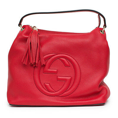 4332c25de466 Gucci Soho Large Red Flame Leather Handbag Hobo Zip Strap Soft Italy Tag Bag  New