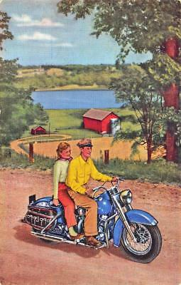 """Harley Davidson Motorcycle """"Talk About A Sweetheart!"""" Advertising Postcard"""