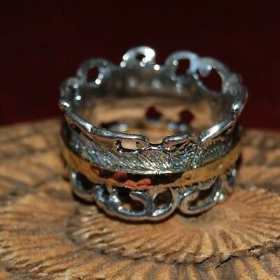 ca28afb4eba93 OR PAZ .925 Sterling Silver Roman Glass & Silver Spinner Ring, Made ...