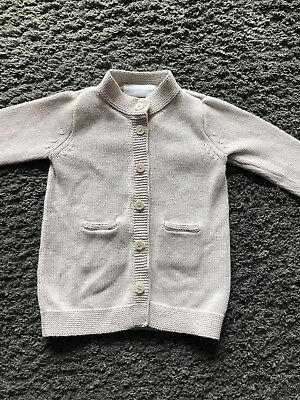 The Little White Company Baby Pale Grey Cardigan Age 6-9 Months