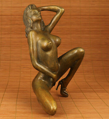 Big Copper Bronze Hand  Carved Sexly high-heeled shoes Girl Statue Home decorati