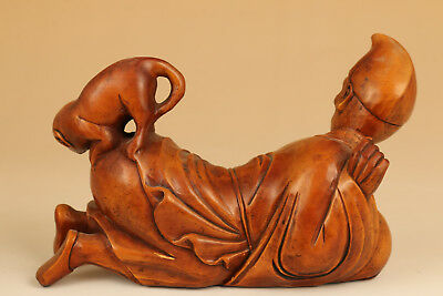 Big chinese hand Old Boxwood carving Mad Monk Love Dog statue figure
